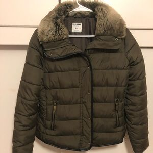 Puffer fur collar jacket